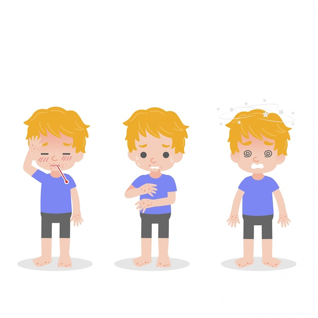 Set of child have fever Premium Vector