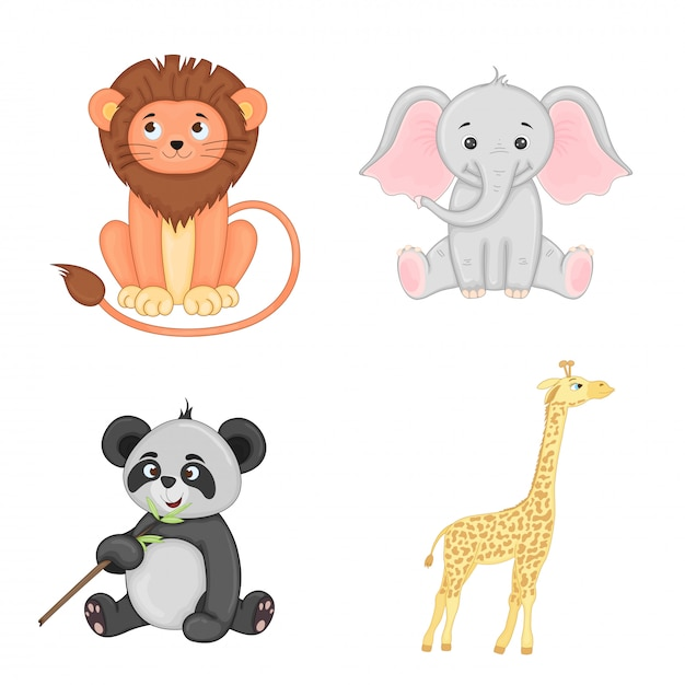 Set of childish animals isolated. cute illustrations of lion, elephant, panda and giraffe Premium Vector