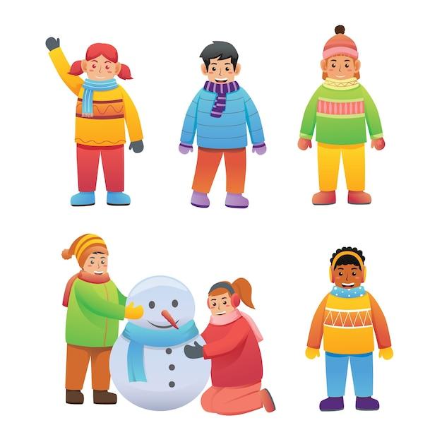 Set of children character activity  in winter clothes Premium Vector