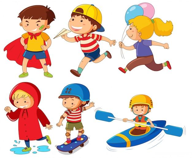 Set of children character Premium Vector