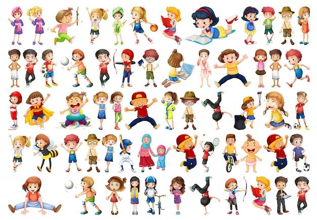 Set of children character Free Vector