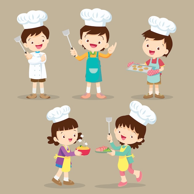 Set of children cooking Premium Vector