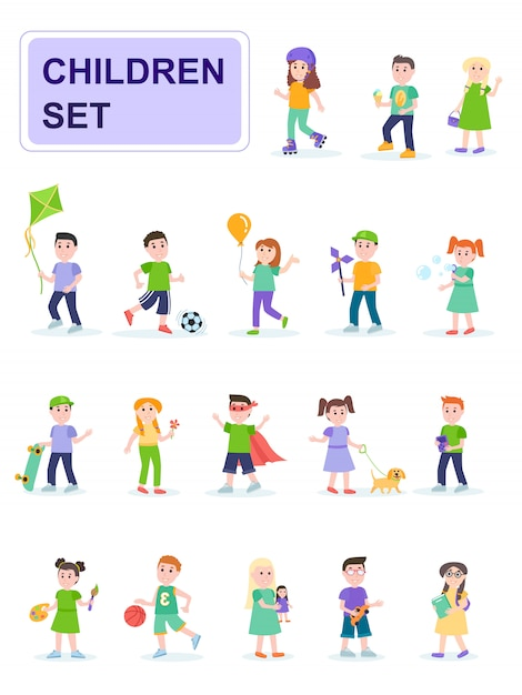 Set of children in different poses and different activities. Premium Vector