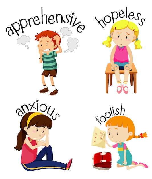 Set of children doing activities with adjectives Free Vector