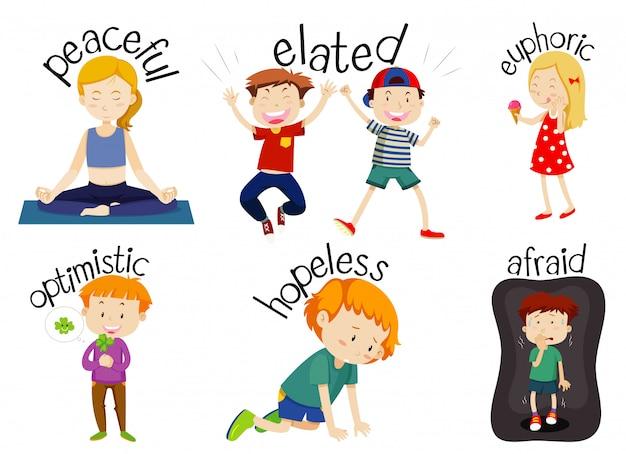 Set of children doing activities with adjectives Free Vector