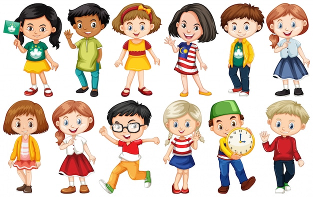 Set of children from different countries Premium Vector
