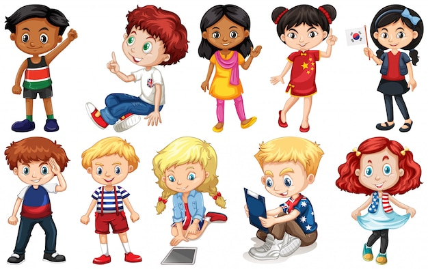 Set of children from different countries Free Vector