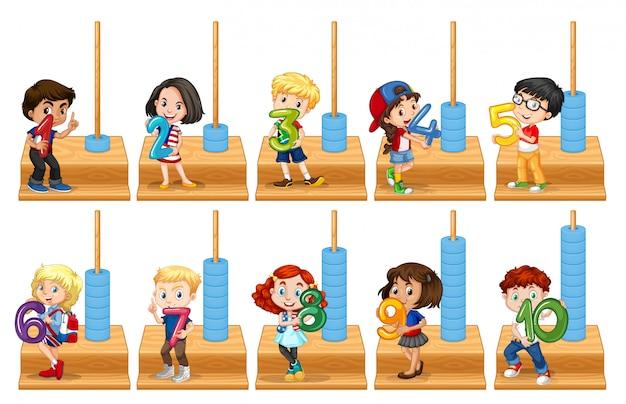 Set of children holding number Free Vector