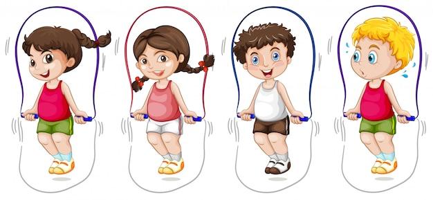 Set of children jumping rope Premium Vector