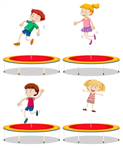 Set of children playing trampoline Premium Vector