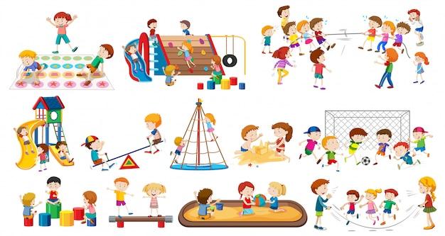 Set of children playing Premium Vector