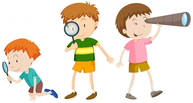 A set of children researching Premium Vector