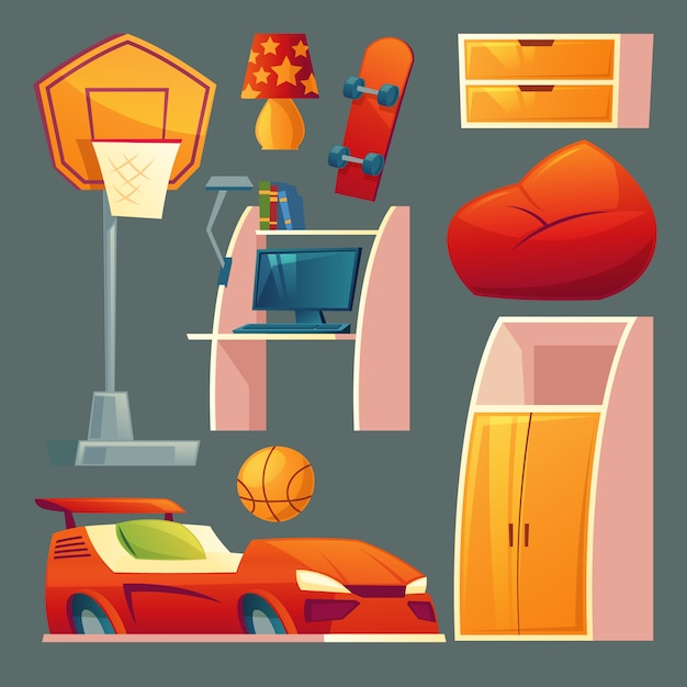Set of children s bedroom - furniture, toys for boy room. Free Vector