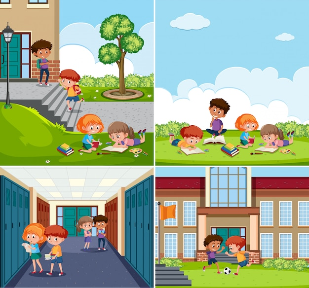 Set of children at school scenes Premium Vector