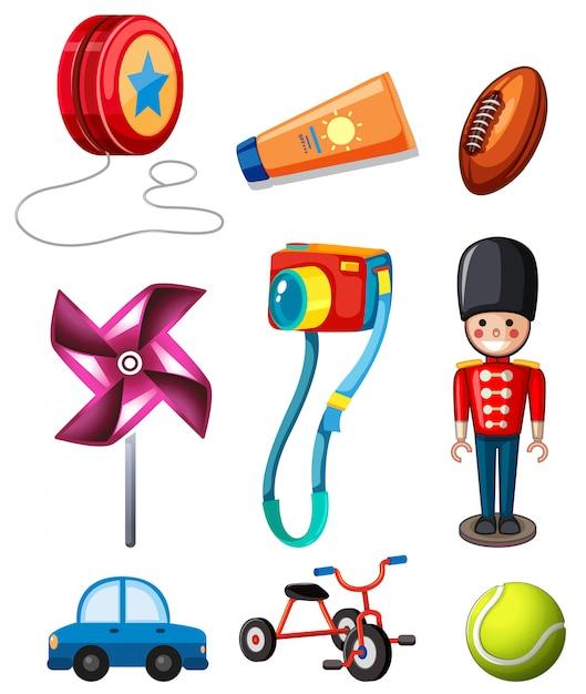 Set of children toy Free Vector