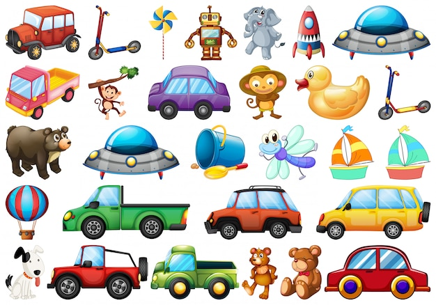 Set of children toy Free Vector
