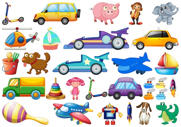 Set of children toys cartoon style Premium Vector