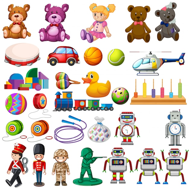 Set of children toys Premium Vector