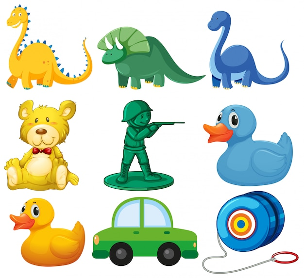Set of children toys Free Vector