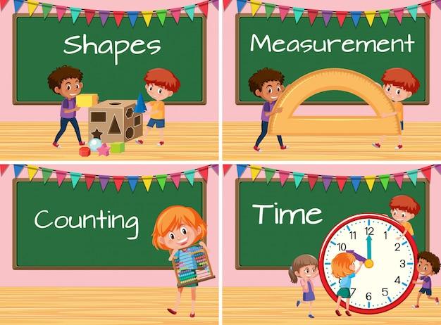 Set of children with math lesson Premium Vector