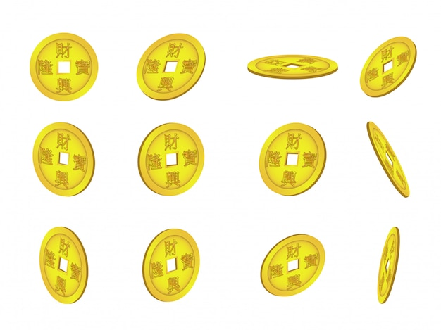 Set of chinese coins on white background Premium Vector