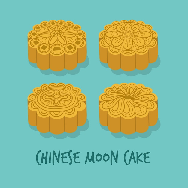 Set of chinese moon cakes for the mid autumn festival Premium Vector