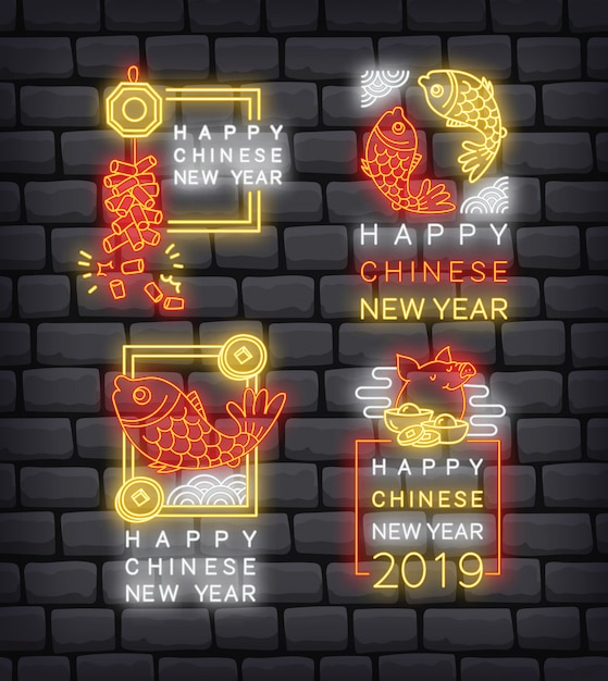 Set of chinese new year greeting badge in neon style vector Premium Vector