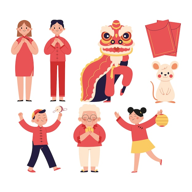 Set of chinese new year illustrations Premium Vector