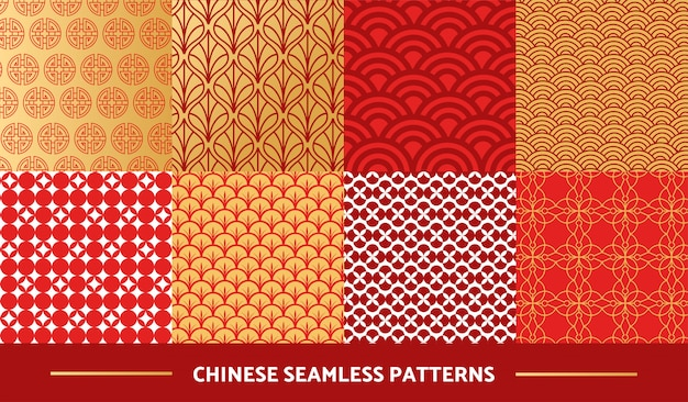 Set of chinese  seamless patterns Premium Vector