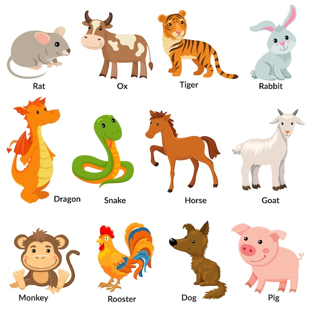 Set of chinese zodiac animal. Premium Vector