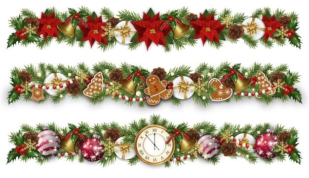 Установите рождественские и новогодние бордюры с гирляндой, золотыми колокольчиками Premium векторы