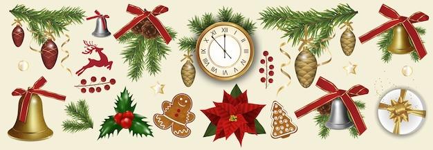 흰색 배경에 고립 된 크리스마스와 새 해 장식 요소를 설정합니다. 프리미엄 벡터