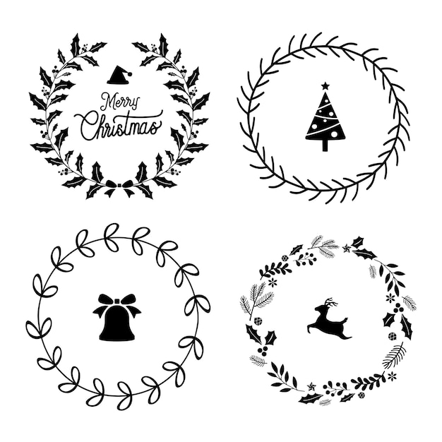 Set of christmas badges vector Free Vector