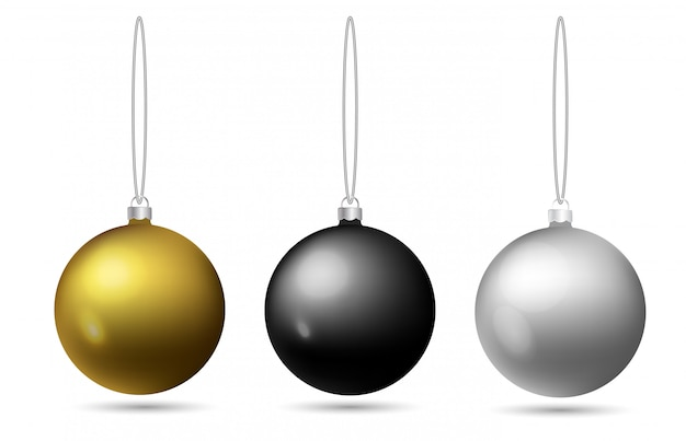 Set of christmas balls hanging on a rope. black, golden, silver toy on the christmas tree. Premium Vector