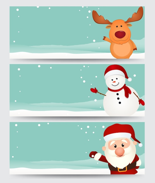Set of christmas banner  with santa ,reindeer and snowman Premium Vector