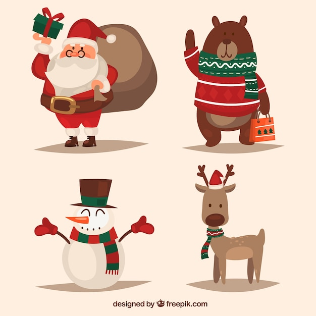 Set of christmas characters in retro style Free Vector