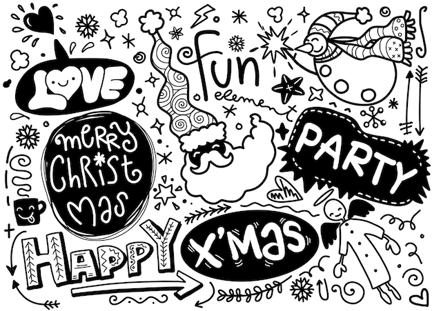Set of christmas design element in doodle style Premium Vector