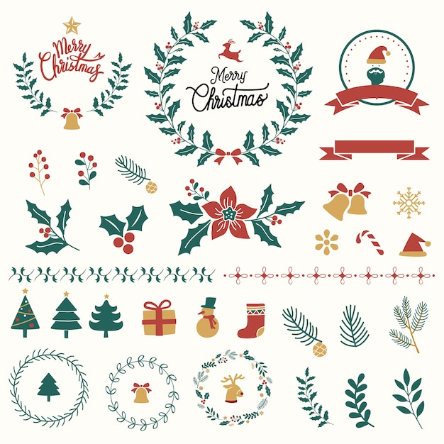 Set of christmas design elements vector Free Vector