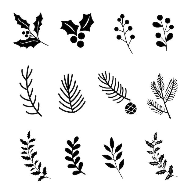 Set di elementi di design di natale Vettore gratuito