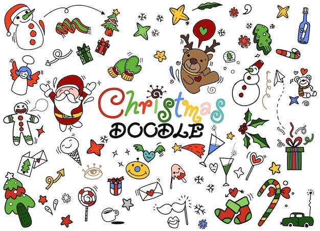 Set of christmas doodle, hand drawn illustration of doodle Premium Vector