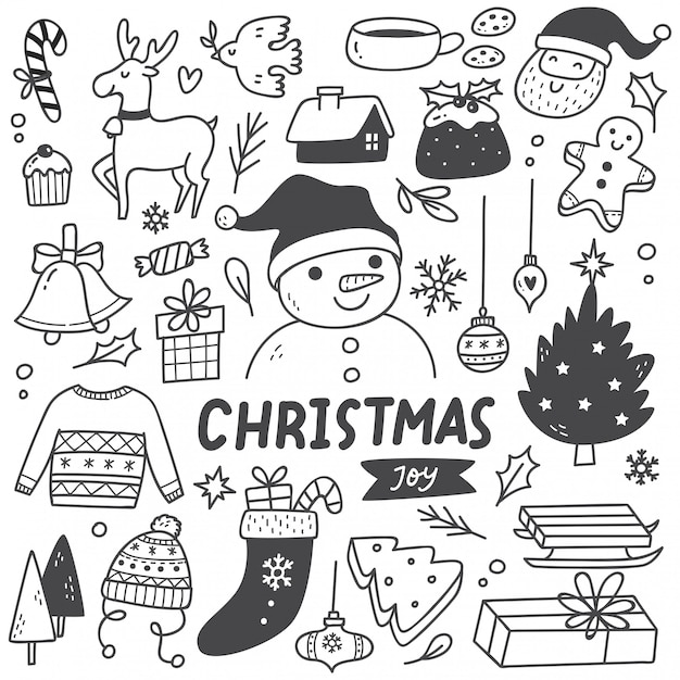 Set of christmas element in doodle style Premium Vector
