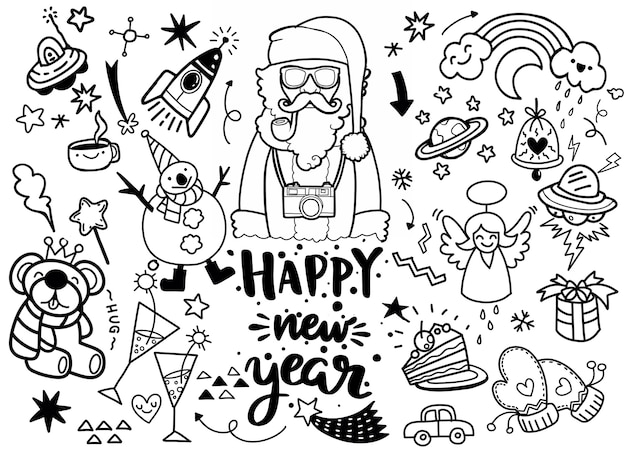 Set of christmas elements in doodle style Premium Vector