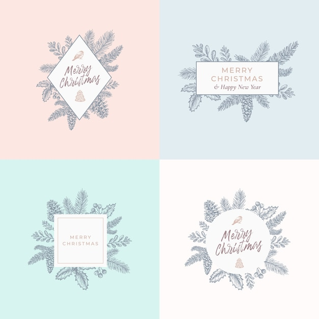 Set di carte di fogliame di natale, segni o modelli di logo. Vettore gratuito