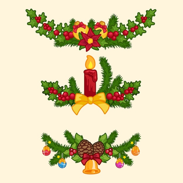 Set Of Christmas Garland In Cartoon Style Vector Premium Download
