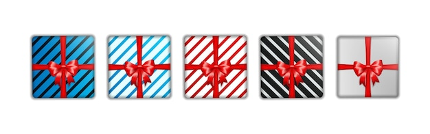 Set of christmas gift box template Premium Vector