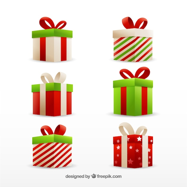 Free Vector Set Of Christmas Gift Boxes