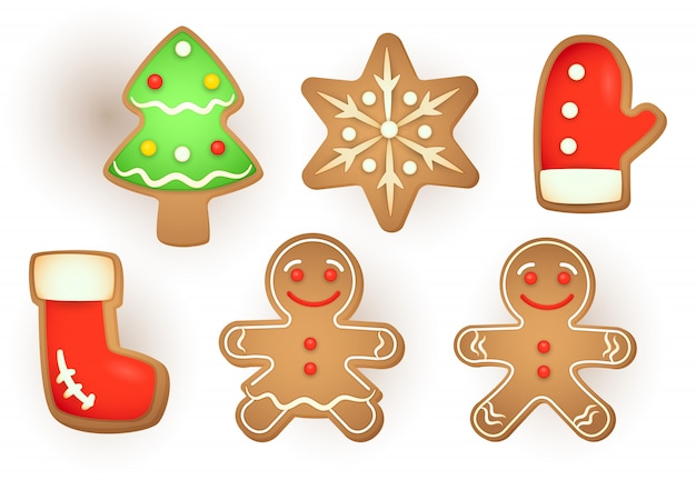 Set of christmas gingerbread Free Vector