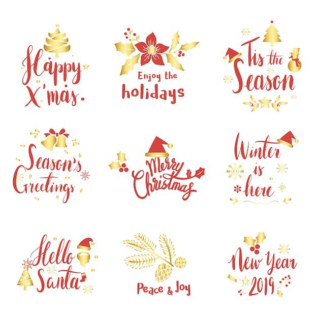 Set of christmas greeting badge vectors Free Vector