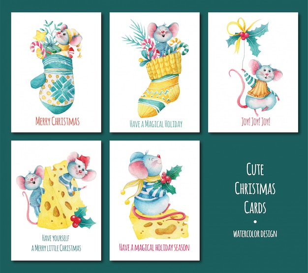 Set of christmas greeting cards with mice Premium Vector