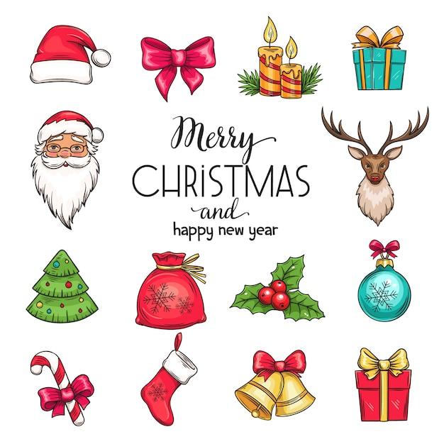 Установить рождественские рисованной иконки Premium векторы